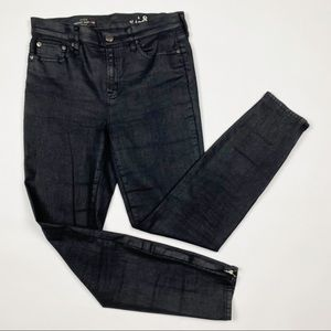 J.CREW Lookout High Rise Black Coated Skinny Jeans